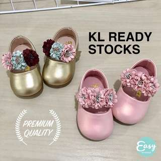 READY STOCKS Premium Quality Baby Toddler Kids Cute Flower Strap Shoes Gold Pink