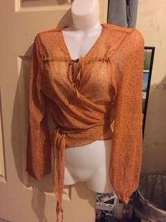 NEW Orange floral multiway tie up blouse