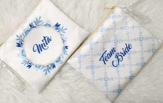 CUSTOM SATIN POUCH white blue