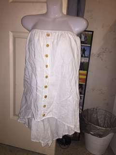 NEW white linen high low button up playsuit
