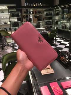 PRADA 長銀包 WALLET 粉紅色