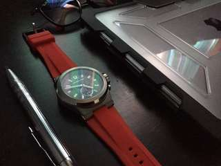 On-hand MK8169 Dylan Chronograph watch for men with red rubber strap