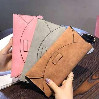 🚚 新款長款復古時尚磨砂錢夾皮夾 (共3色)