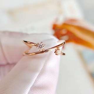 恆星設計☄天然鑽石18k玫瑰金戒指💍浪漫邂逅100%new生日禮物推薦