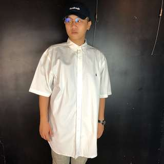 🚚 古著Polo Ralph Lauren 白色素面短袖襯衫p20