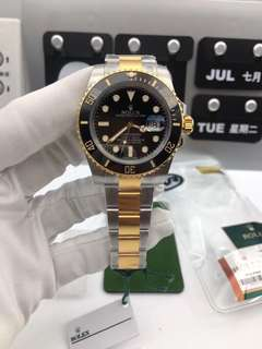 Rolex Submariner 116613 LN Full Thick Wrapped Two Tone Yellow Gold Case Black Dial on Two Tone Bracelet