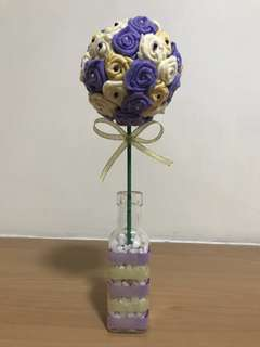 Purple theme flower ball - roses - flower vase