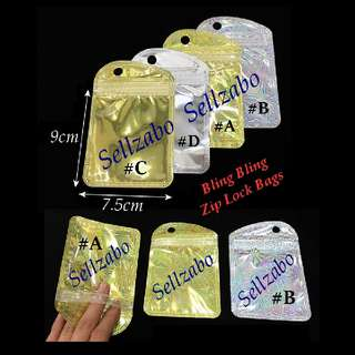 Shiny Laser Zip Lock Bags : 10 Pcs : Plastic : Store : Storage : Sell : Sellers : Selling : Small : Items : Stuff : Use : Put : Accessories : Gift : Presents : Party : Small : Sweets : Candy : Cookies : Stationery : See Through : Silver Gold Colour