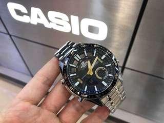 性價比太高了吧!! CASIO(卡西歐).EF-EDIFICE高檔系列 石英男表 46mm錶盤 指針+跳字雙顯示 日期.多功能計時款 夜光指針刻度 100米防水.正品行貨1年聯保
