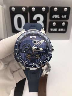 Ulysse Nardin El Toro 322-00-3/BQ Stainless Steel Case All Working GMT Calendar Blue Dial On Blue Rubber Strap