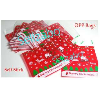 Xmas Opp Bags : 4 Pcs : Plastic : Self Stick : Adhesive : Store : Storage : Sell : Sellers : Selling : Small : Items : Stuff : Accessories : Stationery : See Through : Red Clear Colour : Santa Claus : Christmas : Reindeer : Gift : Presents : Party : 10cm