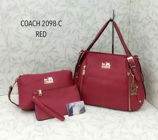 Coach Handbag 3 in 1 Red Color