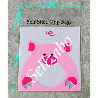 Piggy Pigs Opp Bags : 5 Pcs : Plastic : Self Stick : Adhesive : Store : Storage : Sell : Sellers : Selling : Small : Items : Stuff : Accessories : Use : Stationery : Stationeries : See Through : Pink Clear Colour : About 7cm x 7cm : Sellzabo