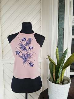 Pink Halter Top with Floral Print