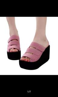 Kasut Wedges  size 38  Warna Pink