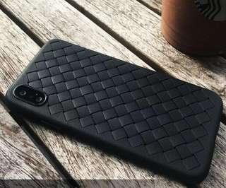 iPhone X 編織皮紋軟殻(送玻璃保護貼一張)