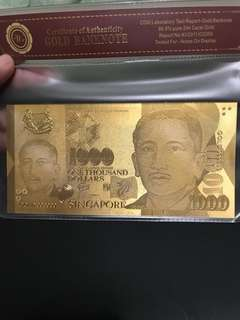 🚚 24k 999 pure gold plated $1000 SGD bank note