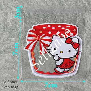 Hello Kitty Opp Bags : 5 Pcs : Plastic : Self Stick : Adhesive : Store : Storage : Sell : Sellers : Selling : Small : Items : Stuff : Accessories : Use : Stationery : Stationeries : See Through : Red Clear Colour : About 7cm x 7cm : Sellzabo