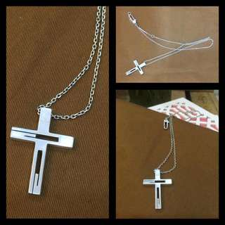 Gucci Silver Long Necklace with Cross Pendant