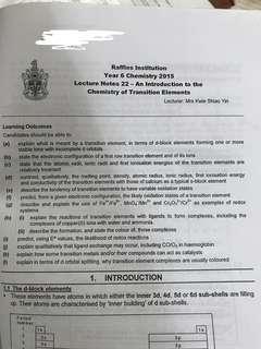 RJC H2 Chemistry Notes