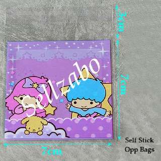 Little Twin Stars Opp Bags : 5 Pcs : Plastic : Self Stick : Adhesive : Store : Storage : Sell : Sellers : Selling : Small : Items : Stuff : Accessories : Use : Stationery : Stationeries : See Through : Purple Clear Colour : About 7cm x 7cm : Sellzabo