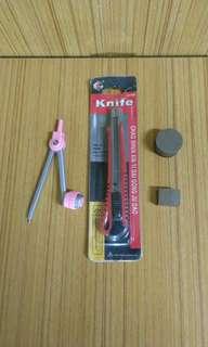 𠝹刀,圓規及強力磁石2個。