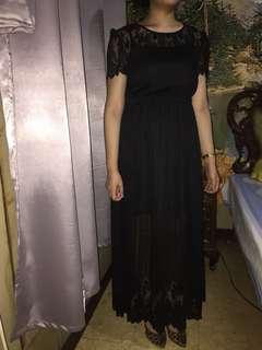 Cache Cache black lace maxi dress