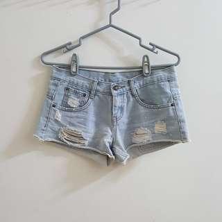 【近全新】美式刷破淺藍牛仔短褲