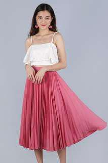 BNWT The Tinsel Rack Pleated Midi Skirt in Blossom Pink