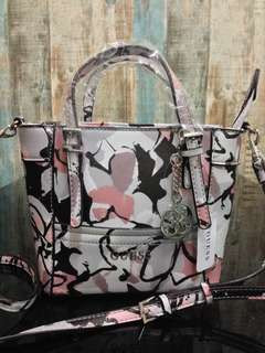 Authentic Guess Floral Delaney mini crossbody tote bag