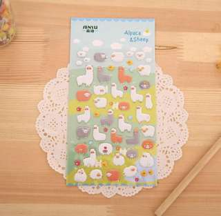 Cute Alpaca Sheep Bubble Stickers - New