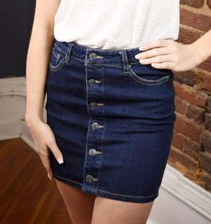 Denim blue button down high waist skirt