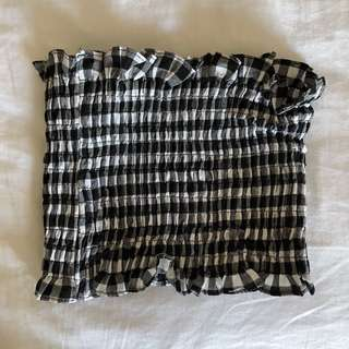 plaid ruched tube top