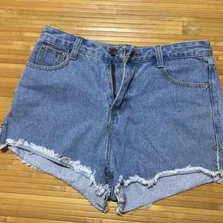 🚚 💙藍色牛仔短褲L
