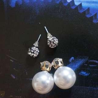 Stud and Pearl Earrings