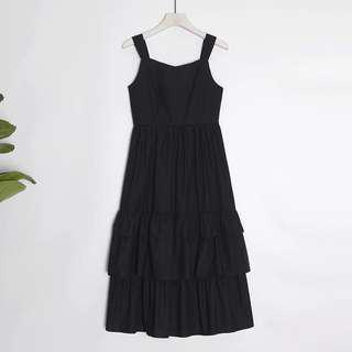 Black layered ruffled dress