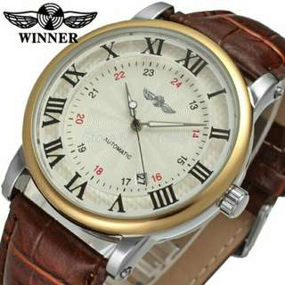 Winner Swirl Texture White and Brown Leather Automatic Watch