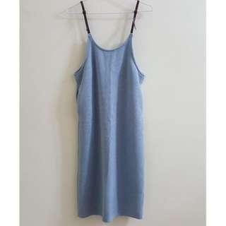 【全新】嬰兒藍吊帶針織背心裙 baby blue