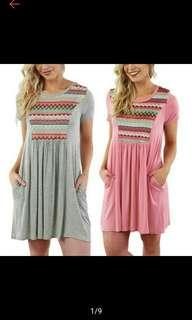 S-5XL Plus Size Women Casual Boho Turn Up Short Dress