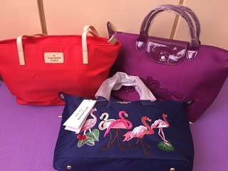 Kate spade tote red and longchamp two way