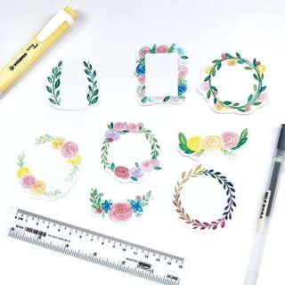 🚚 F003 Floral Wreath Stickers - Stickyrella