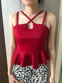 Red sexy peplum