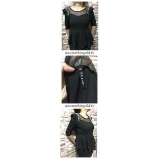 Black Sleeve Blouse with Pearl