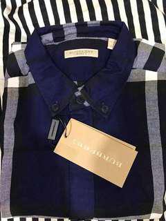 burberry 經典藍色格紋長袖襯衫 尺寸L