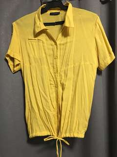Mustard Loose Polo Top