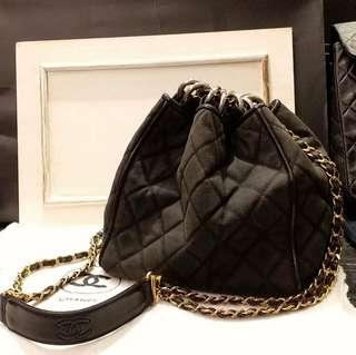 Vintage Chanel黑色牛仔布x牛皮菱格水桶袋