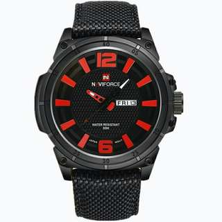 Men's Leisure Army Design Red & Black Leather Watch