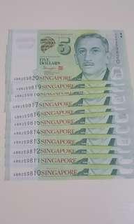 Running serial no $5 new note