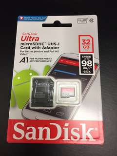 32gb SanDisk Ultra A1 microSD Memory Card with FREE adaptor