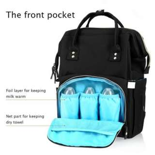 Multi-Function Baby Diaper Bag Large Capacity Water Resistance (Black) 42.00 X 27.00 X 7.00 Cm